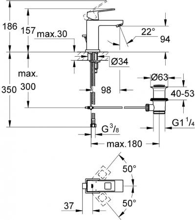 Baterie lavoar monocomanda 23127000 Grohe Eurocube S1