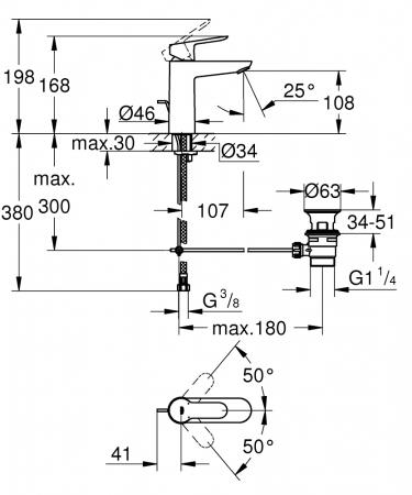 Baterie lavoar monocomanda 23758000 Grohe Bauedge M1