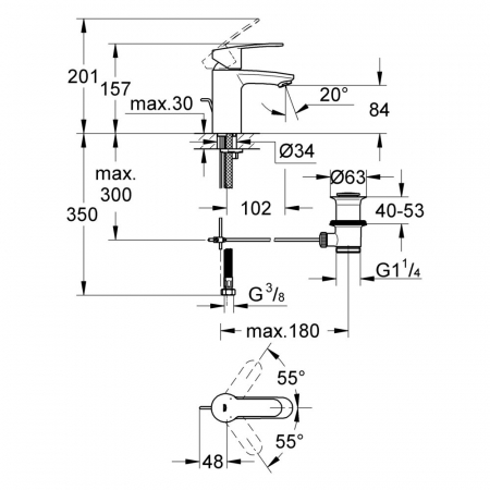 Baterie lavoar monocomanda Grohe Eurostyle Cosmopolitan S-Size 33552002 [1]