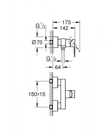 Baterie monocomanda pentru dus 33865001 Grohe Lineare1