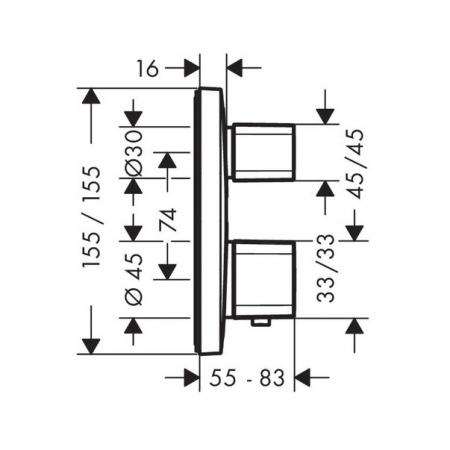 Baterie duș termostatică cu 2 ieșiri Ecostat E Hansgrohe încastrată [2]