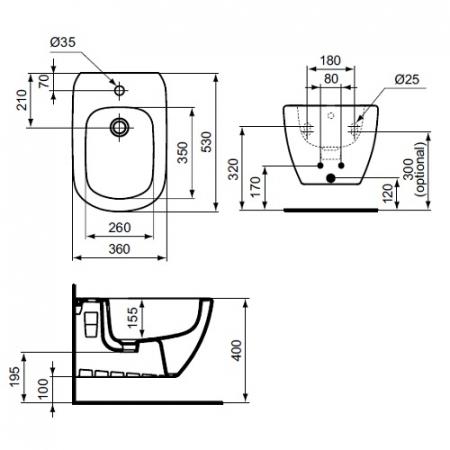 Bideu suspendat Tesi Ideal Standard T3552011