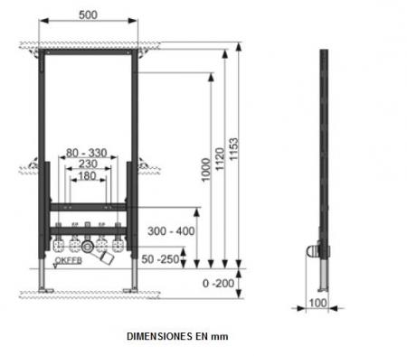 Cadru TECE pentru bideu montat pe perete. Inaltime 1120 mm [1]