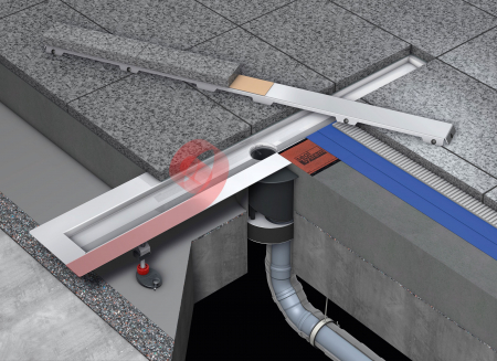 Canal2 de dus TECE drainline pentru piatra naturala, dreapta, cu membrana de etansare Seal System, cu placa suport pentru partea centrala detasabila L =80 cm1