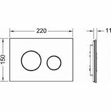 Clapeta de actionare in doua trepte, din sticla, neagra, butoane cromate lucios loop TECE [1]