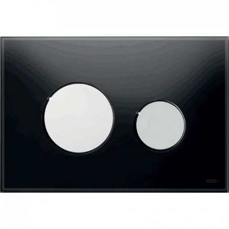 Clapeta de actionare in doua trepte, din sticla, neagra, butoane cromate lucios loop TECE [0]