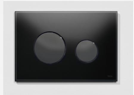 Clapeta de actionare in doua trepte, din sticla, neagra, butoane negre loop TECE0