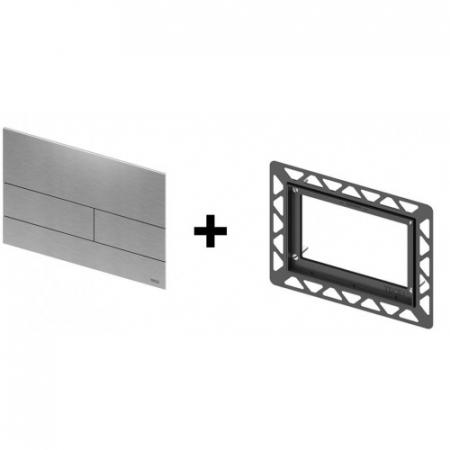 Clapeta de actionare in doua trepte, din sticla, placa alba, butoane otel inox mat square TECE2