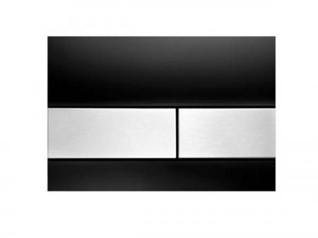 Clapeta de actionare in doua trepte, din sticla, placa neagra, butoane otel inox mat square TECE0
