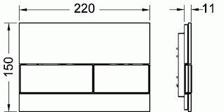 Clapeta de actionare in doua trepte, din sticla, placa neagra, butoane otel inox mat square TECE1