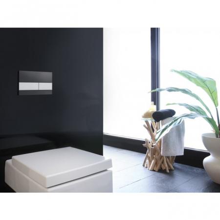 Clapeta de actionare in doua trepte, din sticla, placa neagra, butoane otel inox mat square TECE2