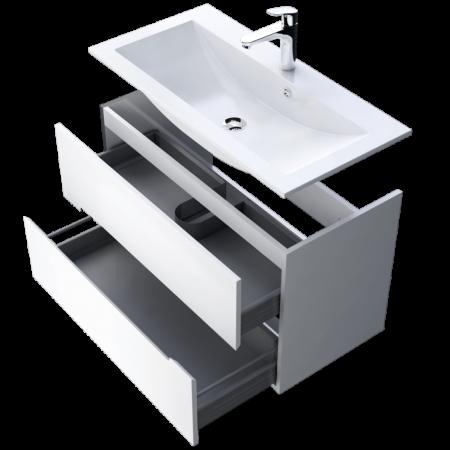 Set mobiler baie suspendat si lavoar Silver Oristo 60 alb [3]