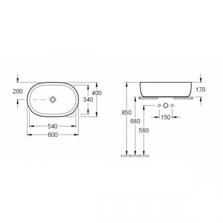 Lavoar cu montaj pe blat, oval, 60 cm, DECOVILSHOP [3]