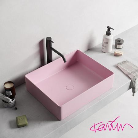 Lavoar Pure Color Roz mat cu ventil [1]