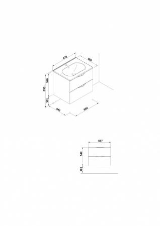 Mobilier Agata Gala doua sertare 59 cm gri [1]