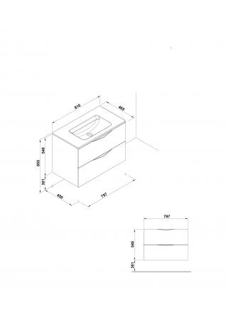 Mobilier Agata Gala doua sertare 79 cm gri [1]