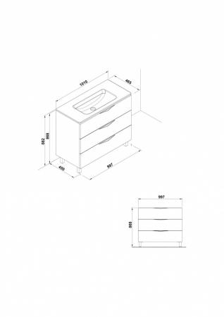 Mobilier Agata Gala trei sertare 99 cm gri [1]