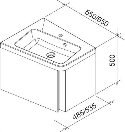 Mobilier baie SD 10° de colt L/R X0000007415