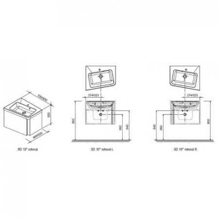 Mobilier baie SD 10° de colt L/R X0000007454