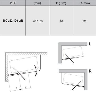 Paravan cada 10CVS2-100 stg/dr profil alb Ravak [2]