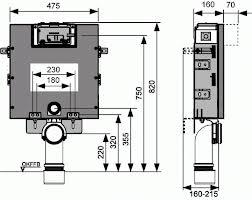 Rezervor incastrat pentru constructii din zidarie, cu actionare frontala sau superioara. H = 820 mm TECE box [1]