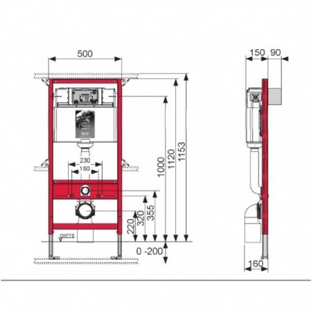 Rezervor incastrat wc cu cadru TECE standard,actionare frontala H1120mm1