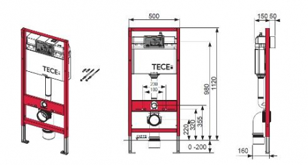 Rezervor ingropat Wc, cu cadru TECE BASE actionare frontala, H = 1120 mm cu clapeta si sistem fixare incluse [1]