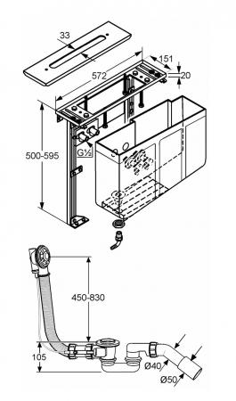 Set de montare KLUDI pe marginea cazii set preinstalare pentru baterii cu 4 treceri [1]