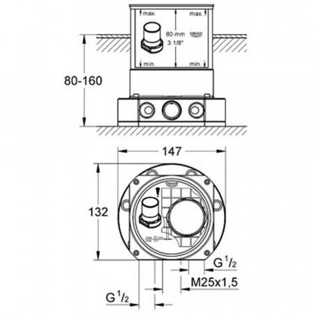 Set pentru baterii montare pe pardoseala 45984000 Grohe Atrio1