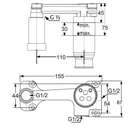 Set preinstalare DN 15 pentru baterie de perete monocomanda lavoar KLUDI, cu 2 treceri, mascata [1]