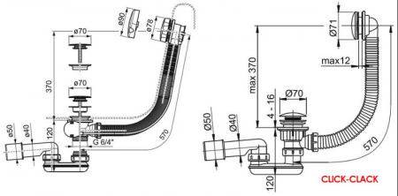 Sifon cada de scurgere cu preaplin bowden RAVAK clasic X013051