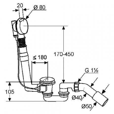 Sifon de scurgere si preaplin g 1 1/2 KLUDI Rotexa 2000 [1]