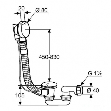 Sifon de scurgere si preaplin g 1 1/2 KLUDI ROTEXA 2000, cablu bowden 850mm, teava de preaplin flexibila de 950mm [1]