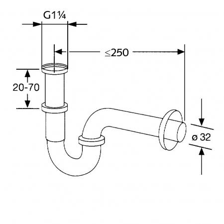 Sifon de scurgere tubular KLUDI g1 1/4*32mm, model standard1