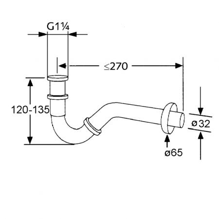 Sifon tubular KLUDI pentru bideu g 1 1/4 x 32mm1