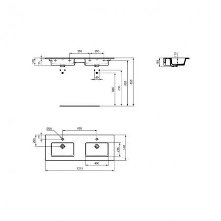 Sot mobilier suspendat și lavoar Tempo Ideal Standard 120 cm [4]