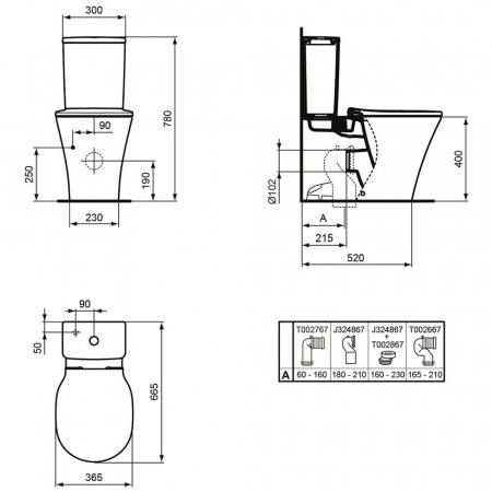 WC stativ Connect Air Ideal Standard E0137011