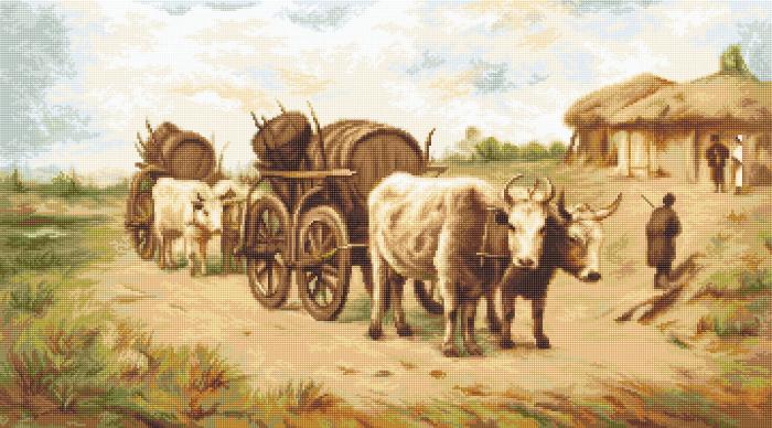 Set goblen, Car cu boi (Theodor Aman), 36x20 cm [0]