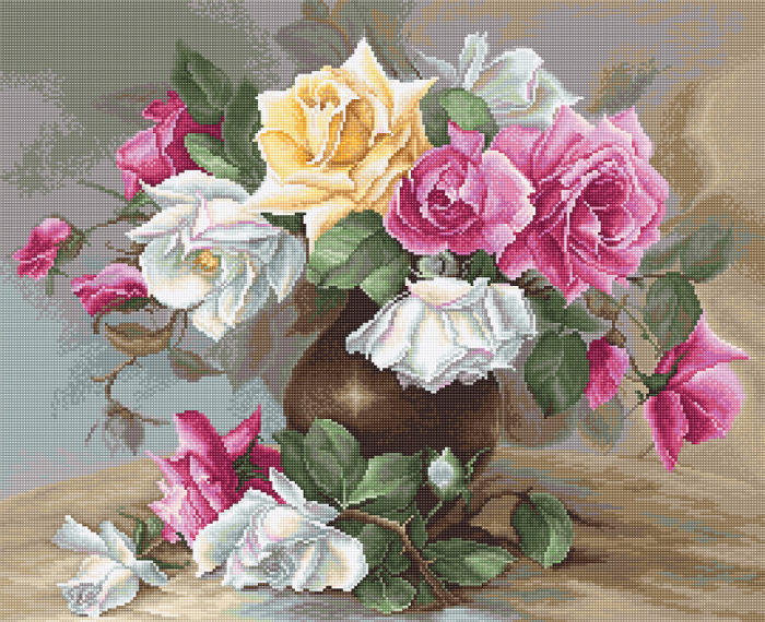 Set goblen, Vaza cu trandafiri, 27x22 cm [0]