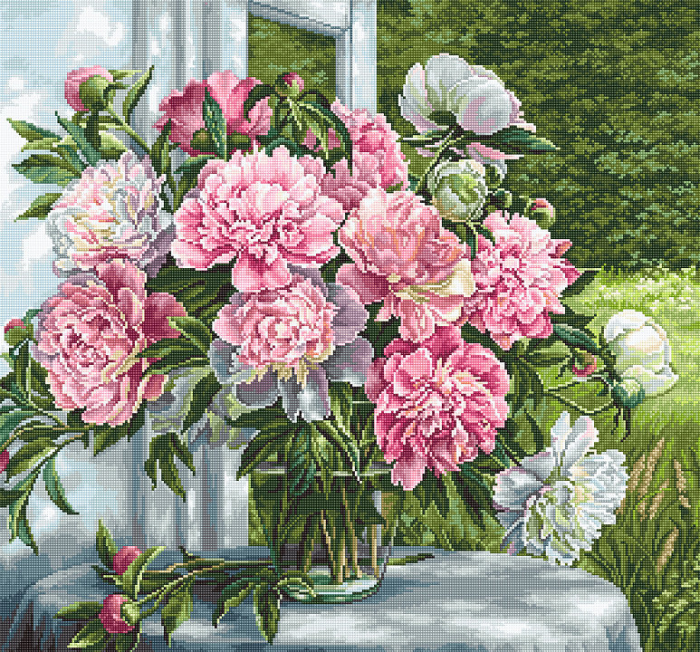 Set goblen, Bujori la fereastra, 29x27 cm [0]