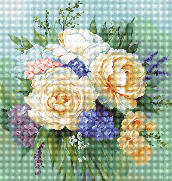 Set goblen, Buchet floral, 21x22 cm [0]