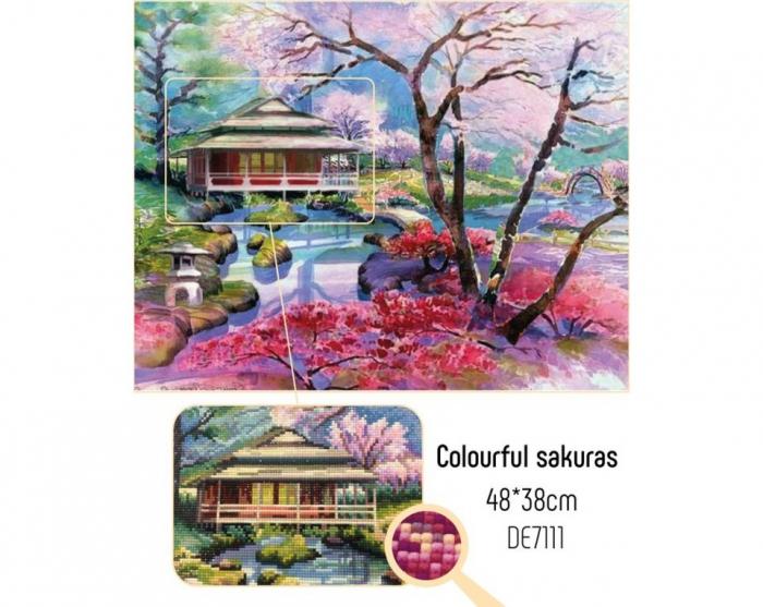 Set goblen cu diamante, fara sasiu, Sakura, 48x38cm [1]