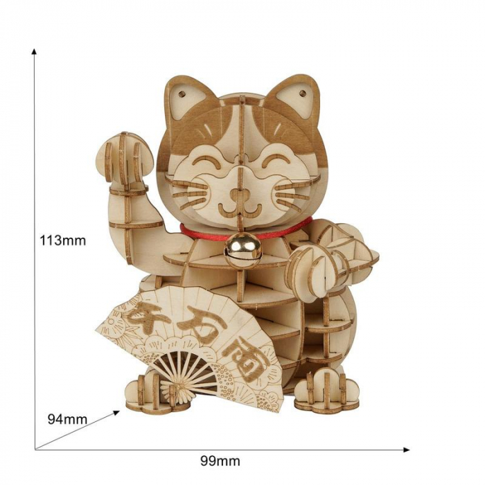 Puzzle 3D din lemn, Pisica prosperitatii, 72 piese [1]