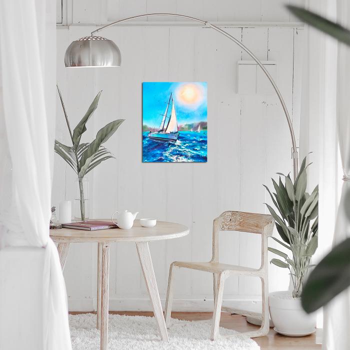 Set goblen cu diamante, cu sasiu, Barca pe mare, 40x50 cm 1