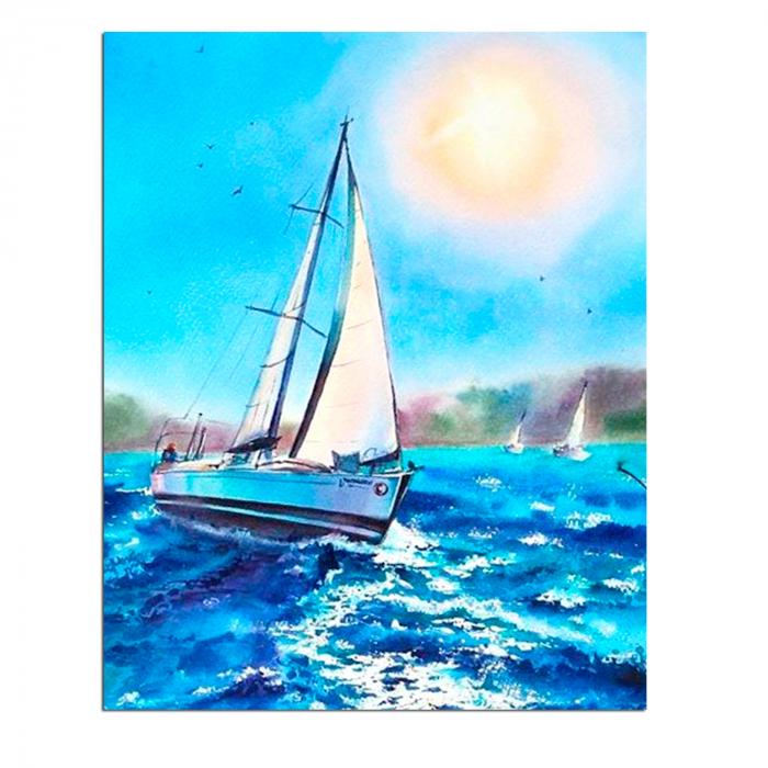 Set goblen cu diamante, cu sasiu, Barca pe mare, 40x50 cm 0