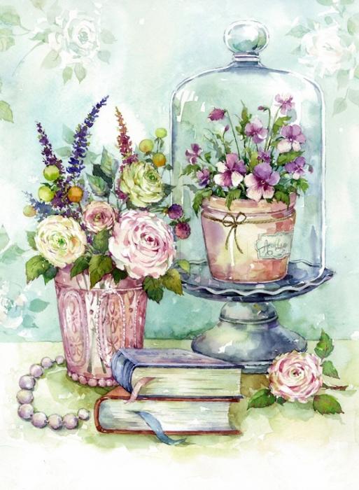Set goblen cu diamante, cu sasiu, Flori, 40x50 cm 1