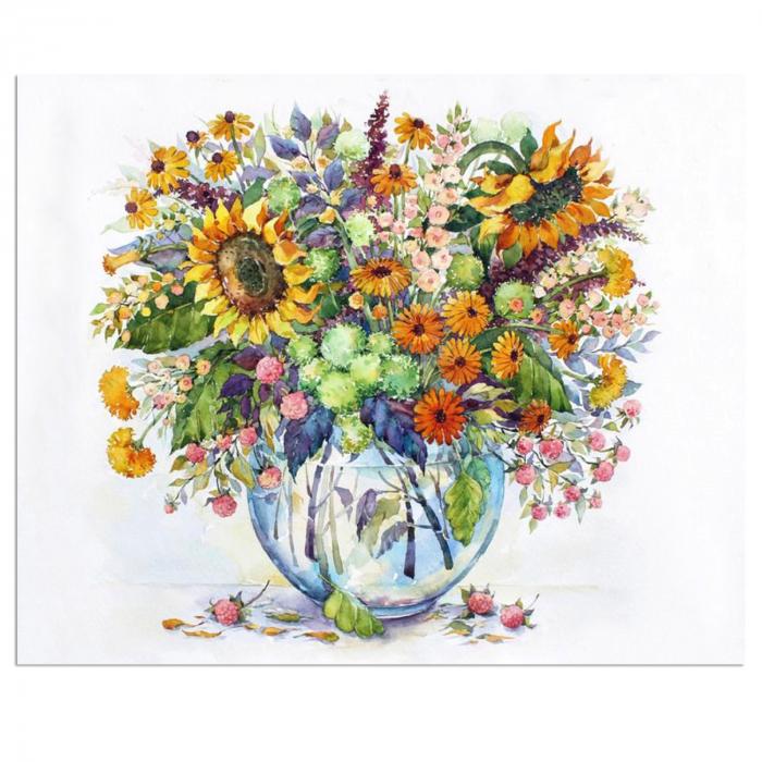 Set goblen cu diamante, cu sasiu, Flori de camp, 40x50 cm 0