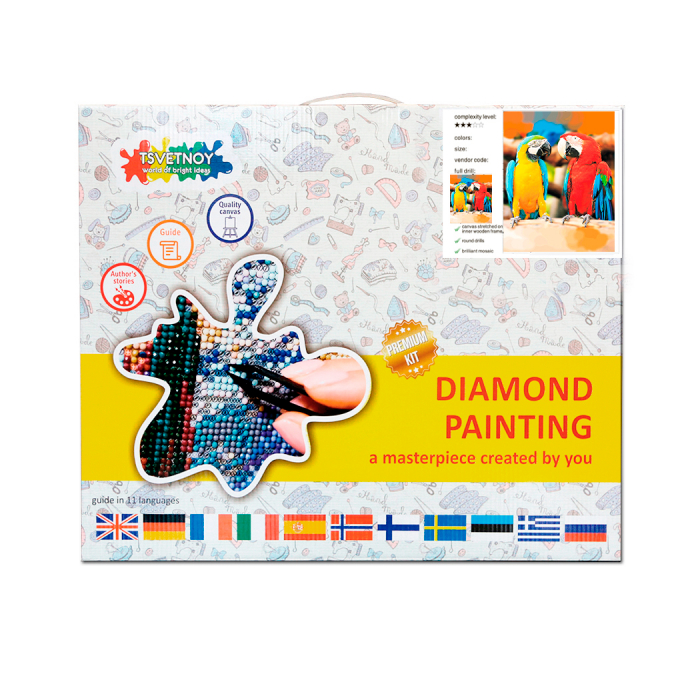 Goblen cu diamante, Papagali Ara, 30x40 cm [3]