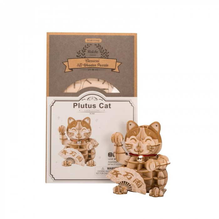 Puzzle 3D din lemn, Pisica prosperitatii, 72 piese [2]