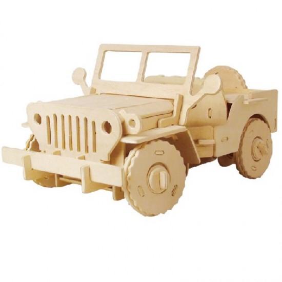 Puzzle mecanic 3D din lemn, cu telecomanda, Jeep, 94 [0]